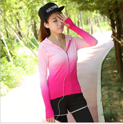 The new Korean female sport coat colour hooded cardigan sport coat female slim elastic yoga clothing wholesale