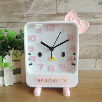 创意卡通森林kt闹钟 糖果色钟表 可爱小动物时钟