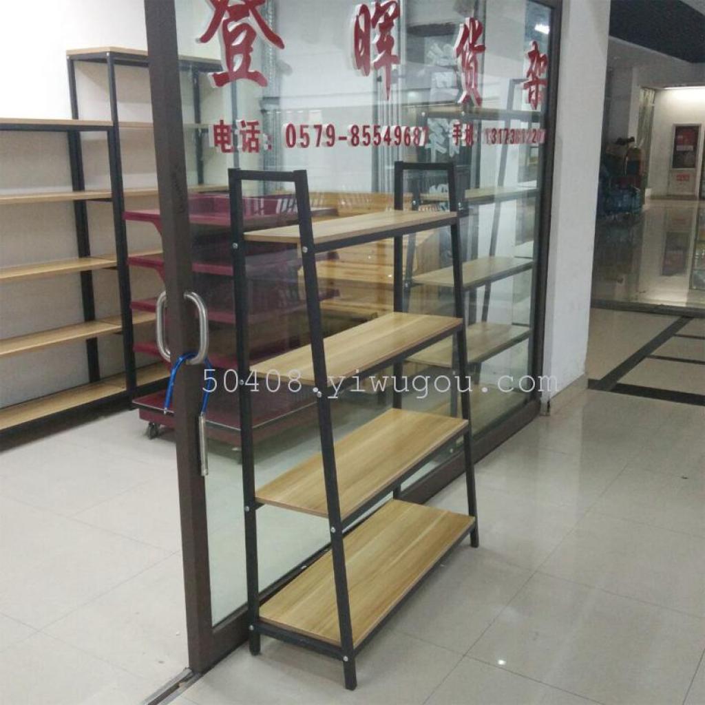斜角展示架简易钢木书架组合架置物架货架