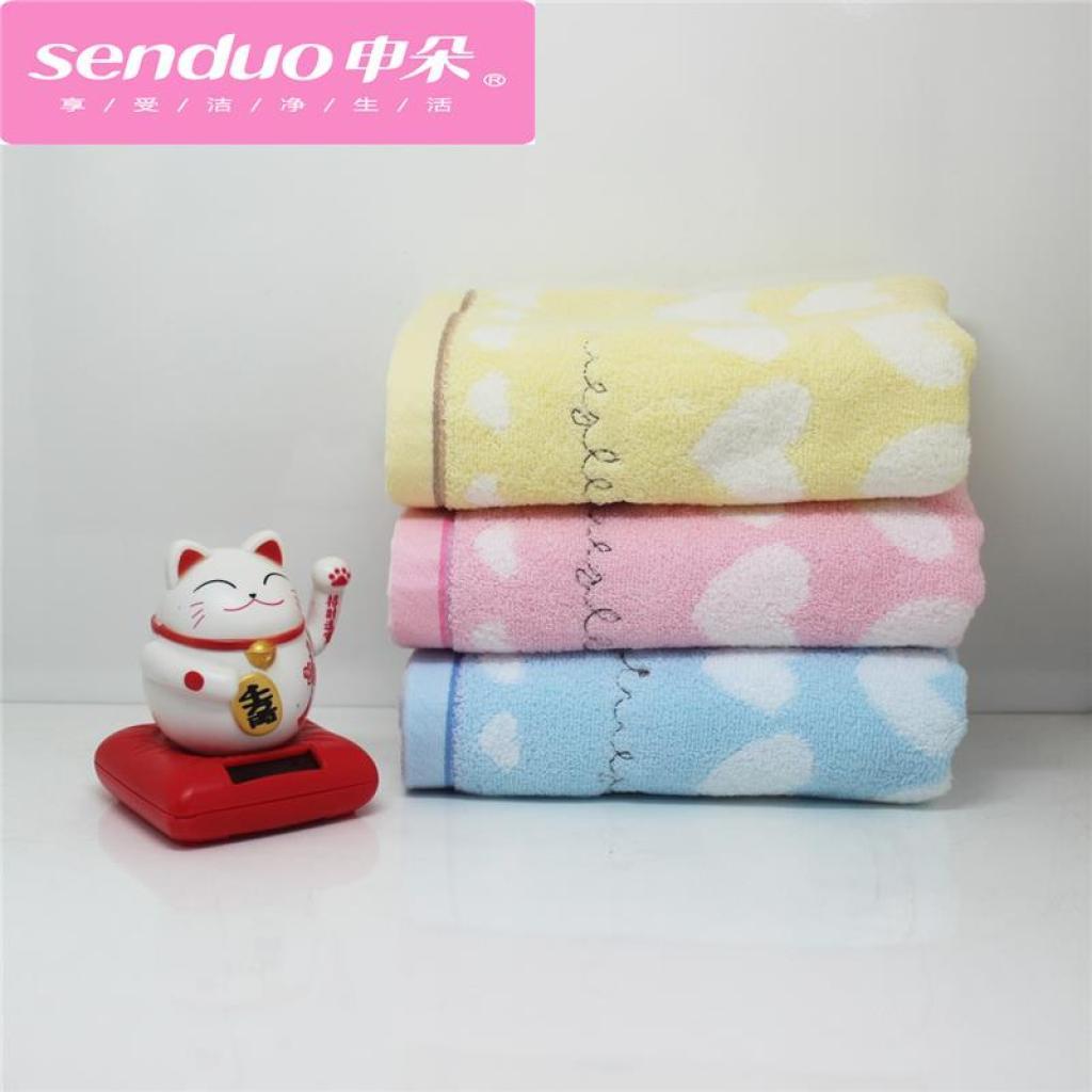 桃心刺绣可爱动物图案纯棉毛巾 申朵