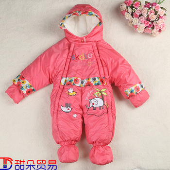 Baby baby clothes cotton padded winter thickened Siamese clothes bag feet warm clothes, sleeping blankets