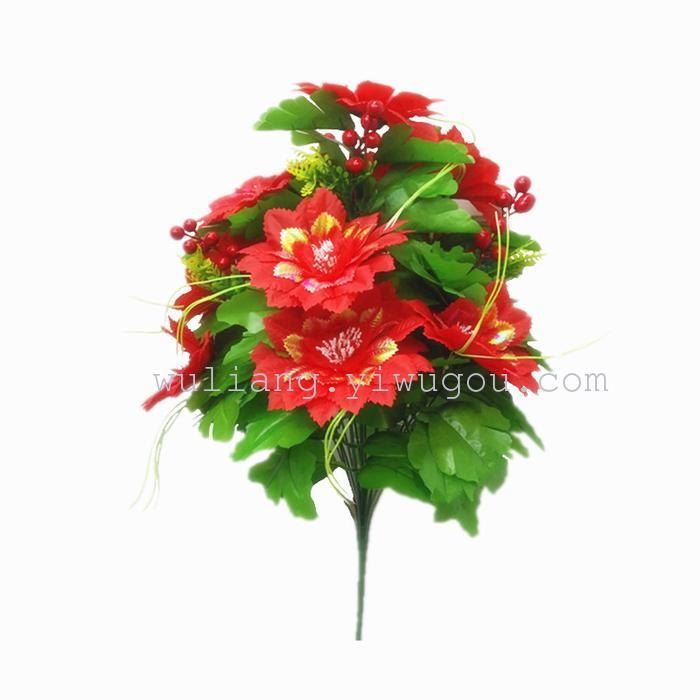 Supply silk flowers high end wedding venue office imitation 18 head 18 head of phoenix ju the entire length of the product about 50cm flowers straight stem width of about 16cm 2305 mightylinksfo