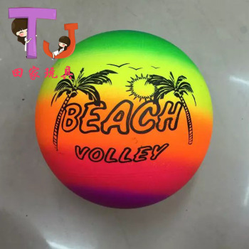 Factory outlet 9 inch rainbow ball beach children's cartoon color volleyball children inflatable PVC toys ball