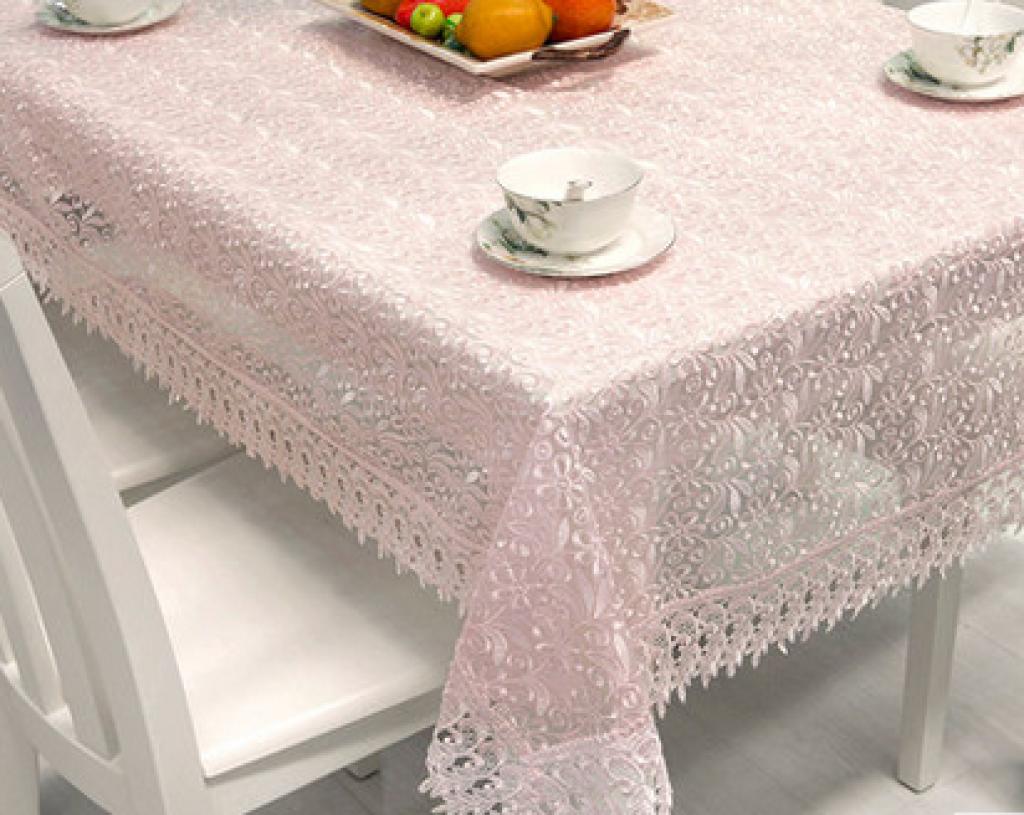 清新玻璃纱刺绣台布 欧式餐桌布