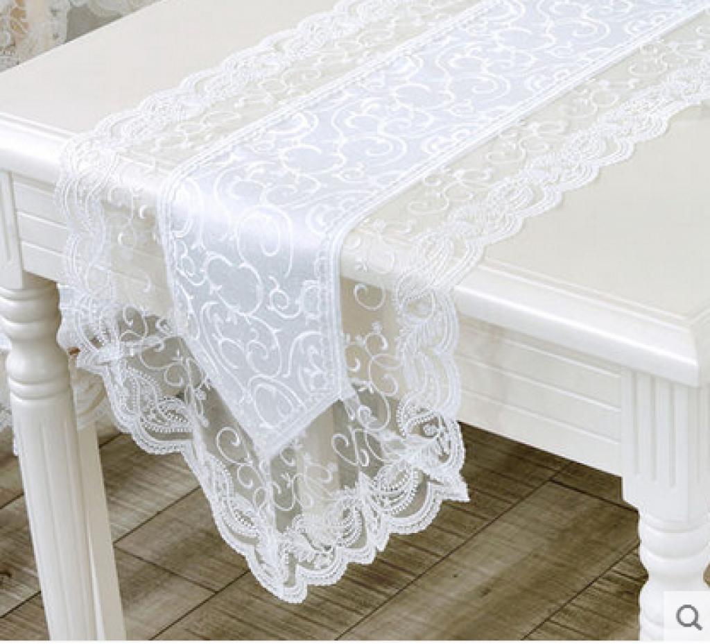 欧式防水白色蕾丝桌布桌旗装饰盘垫