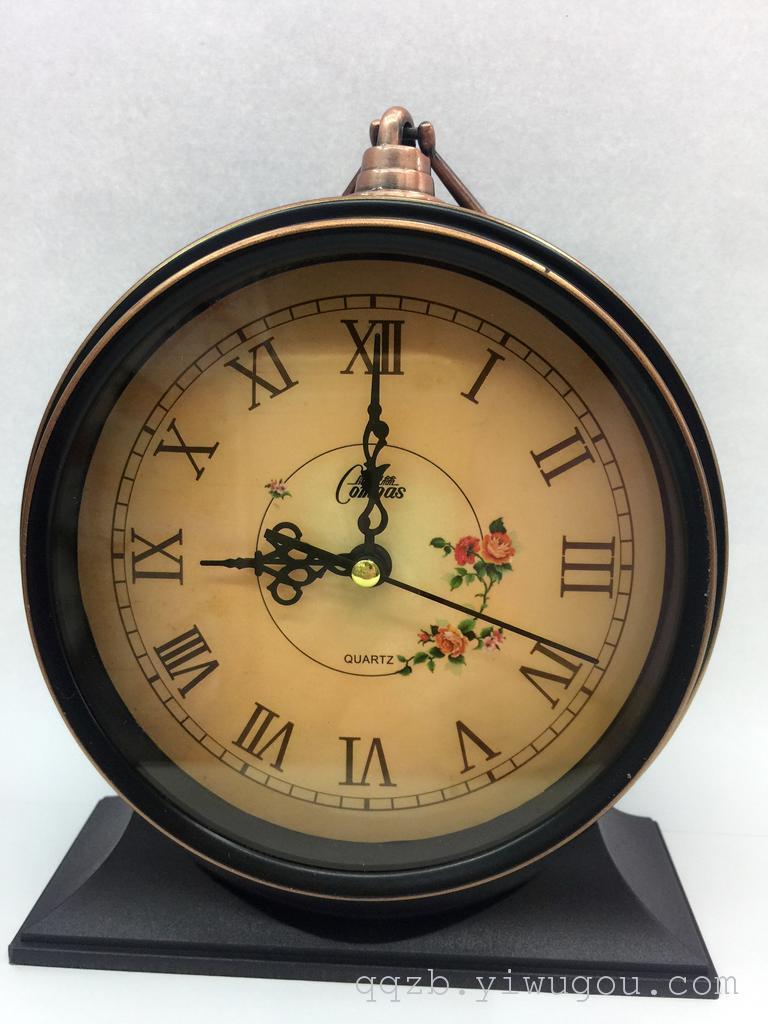 个性家居复古金属圆形闹钟 欧式床头创意闹钟 可双用图片