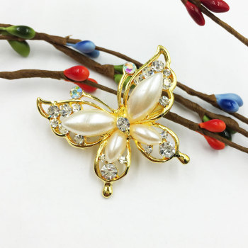 Korean version of the diamond butterfly brooch female pearl big hair sweater cardigan decoration