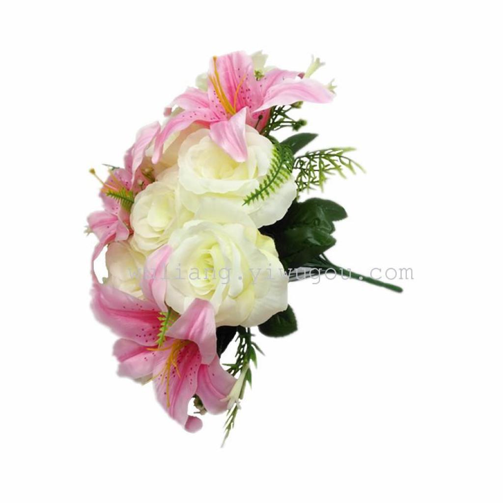 假花绢花婚礼庆典仿真手捧玫瑰花布置装饰18头芙蓉玫瑰百合花