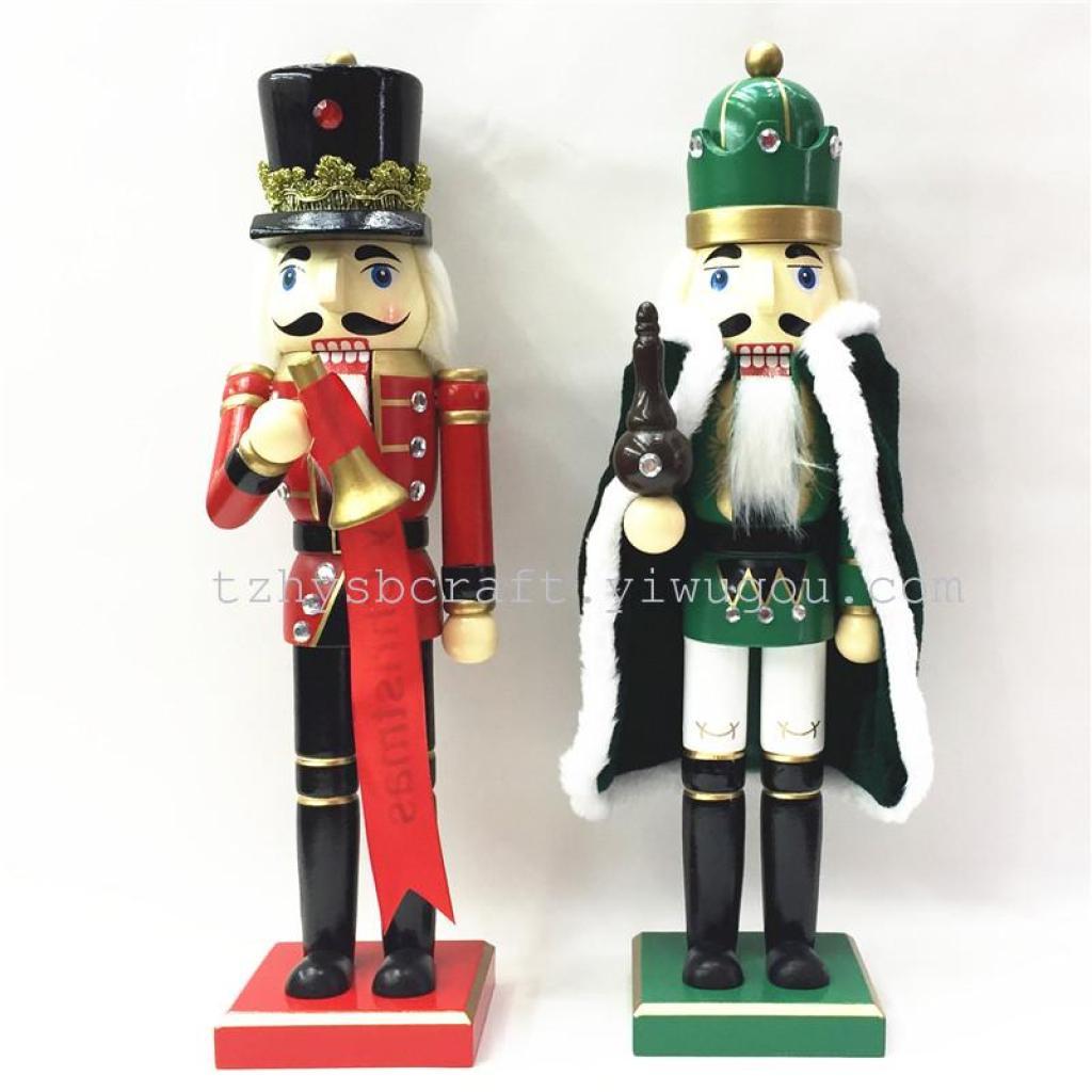 精品 木制圣诞工艺礼品38cm胡桃夹子士兵木偶
