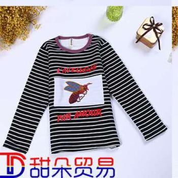 latest autumn and winter children's clothing girls plus cashmere T-shirt underwear long-sleeved shirt factory direct