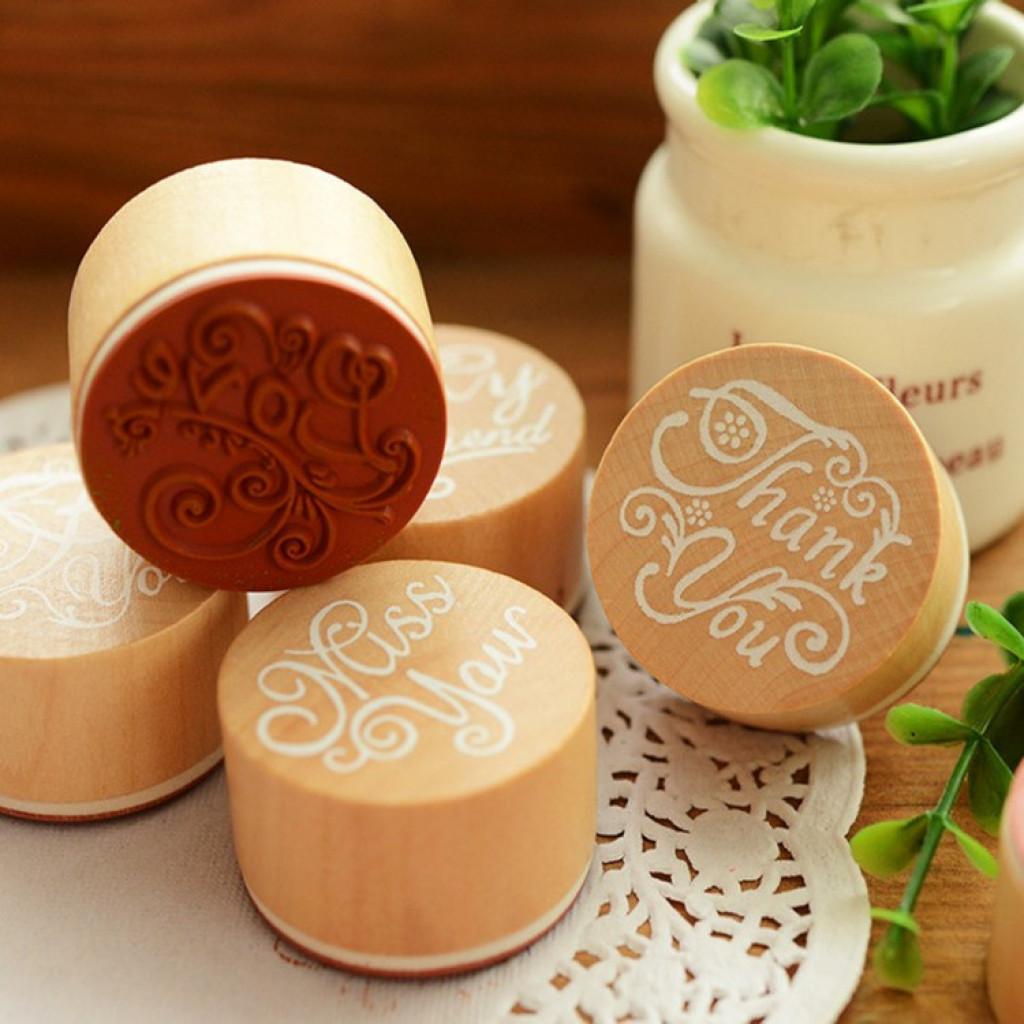 韩国文具 diy英文祝福语木质复古圆形印章 手帐用品