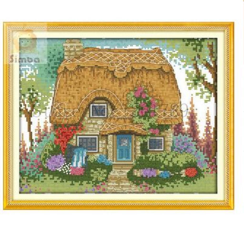 廠家直銷十字繡新款客廳裝飾畫 茅草屋 風景十字繡 林間小屋