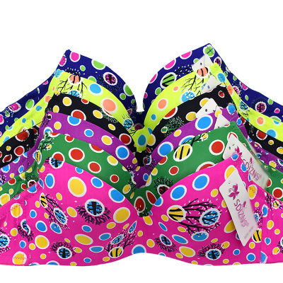 New cups cute printing ladies underwear foreign trade thin section of the bra stock