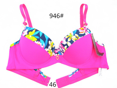 The new printing massage cup bra spot foreign trade splicing bra text Yiwu bra color wholesale firms