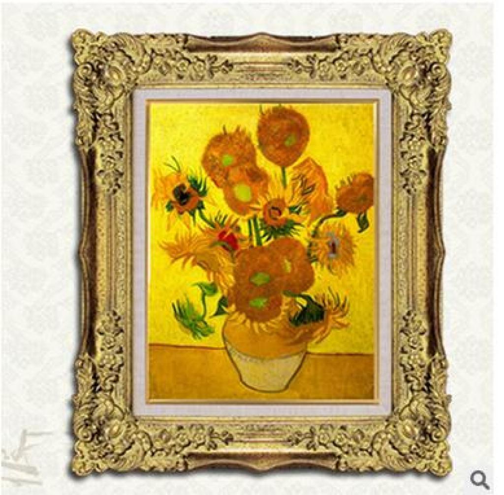 印花十字绣客厅新款欧式世界名画太阳花花卉系列l梵高