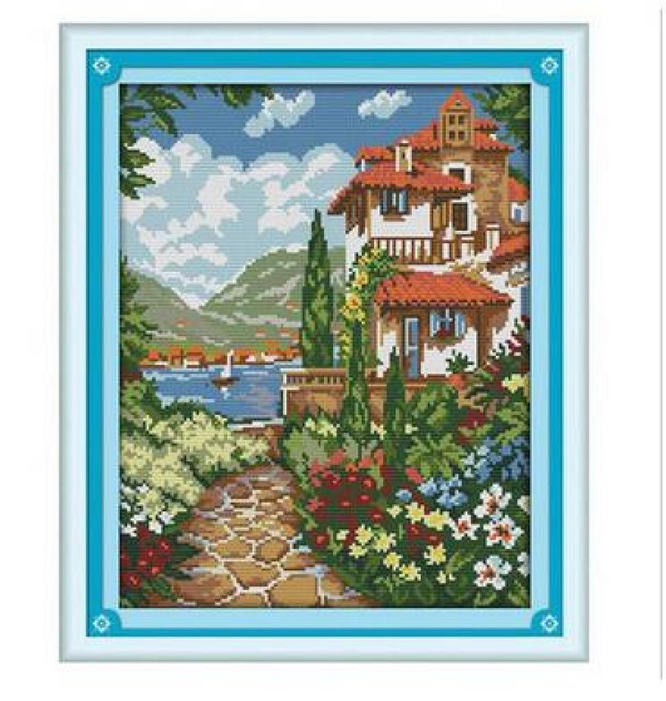精准印花十字绣 湖边小屋 别墅 蓝天白云风景画客厅卧室