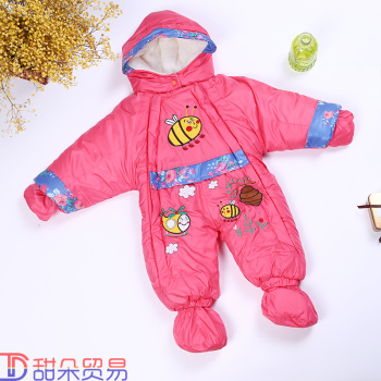 Newborn infant baby romper Jumpsuit dress up thick leotard with feet gloves wind out clothes