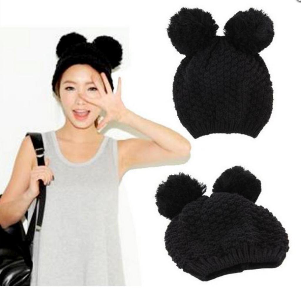 Cute Mickey Mouse Ears knitted hat female winter wool hat hair ball cap cat  ear cap 7043cb93d07