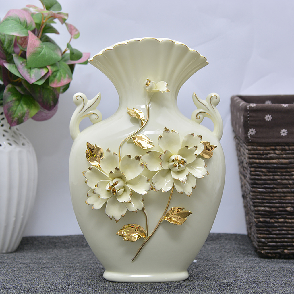 创意家居客厅陶瓷 欧式描金牙色花瓶工艺品批发