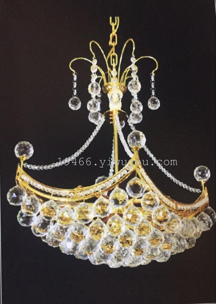 厂家直销led欧式金色船形餐厅水晶吊灯客厅卧室灯具