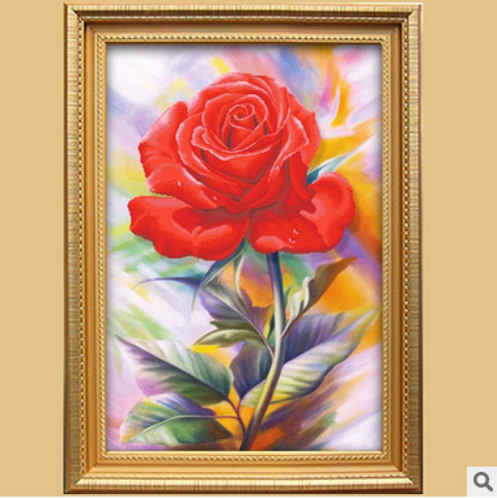 3d印花十字绣新款客厅装饰画一枝独秀 梦幻玫瑰简约现代欧式