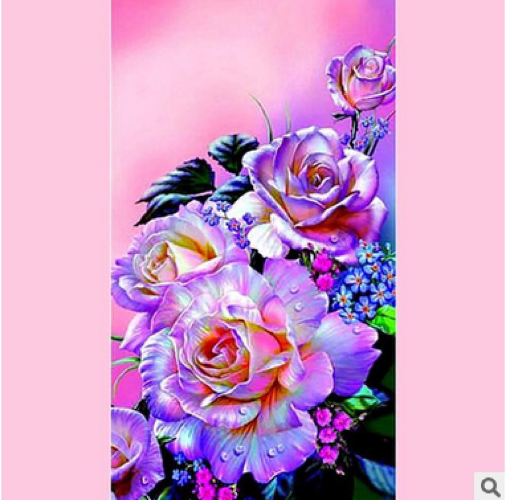 印花十字绣新款客厅卧室装饰画 花卉系列 浪漫 紫色玫瑰花