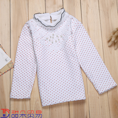 Girls' autumn/winter long-sleeved top 2018 new white printed polka dots