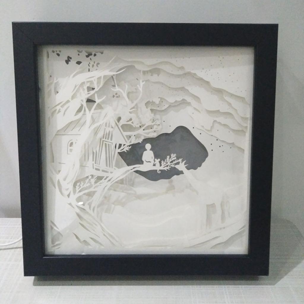 立体光影纸雕相框画创意3d纸雕灯北欧家居创意装饰画框