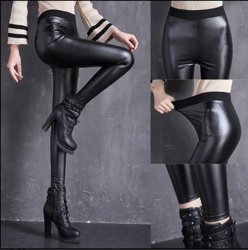 The new high waist tight leather pants PU backing female trousers thin pencil pants feet