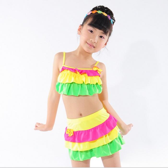 可爱分体女童游泳衣 亮丽小孩子泳装 游泳衣_ 义乌娇
