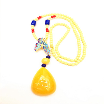 The explosion of autumn and winter folk style retro sweater chain necklace made of high-grade clothing with cloisonne