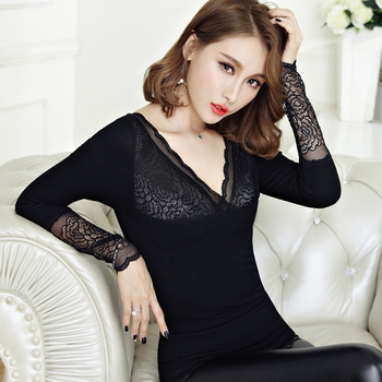 Warm winter female underwear V collar lace shirt with thick velvet