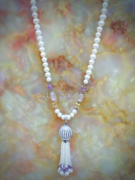 [and] natural freshwater pearl jewelry collocation natural crystal sweater chain