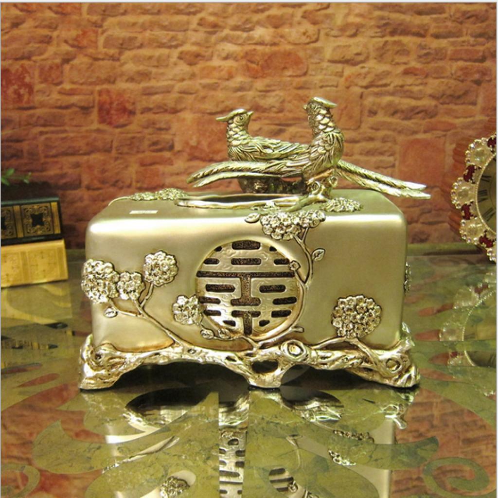 欧式奢华宫廷复古树脂纸巾盒 创意抽纸盒家居摆件 家居装饰品
