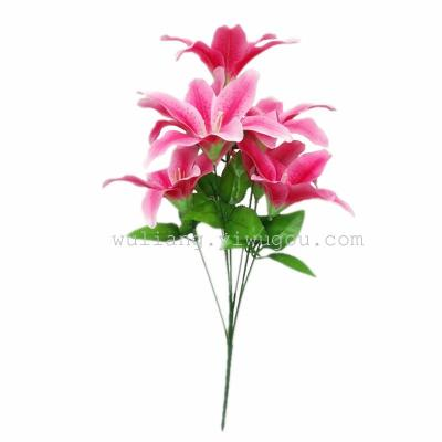 Home Furnishing wedding decoration high-grade export rose flowers wholesale simulation 7 head lilies