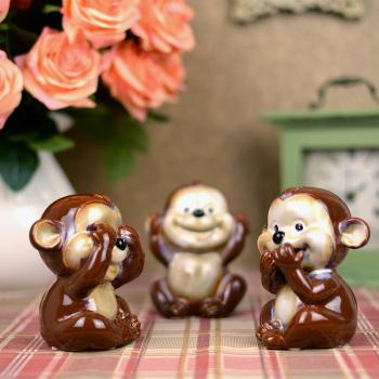 陶瓷家居饰品摆件 嘻哈三不猴