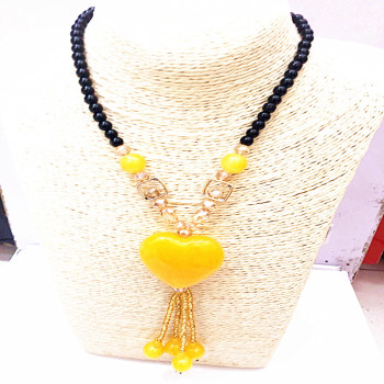 Natural amber pendant chicken oil yellow peach heart-shaped Necklace female sweater chain