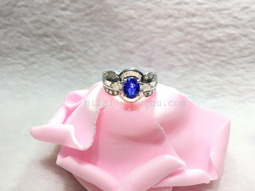 Supply [and] natural sapphire inlaid jewelry 18K gold ring-