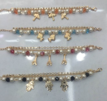 European and American fashion jewelry Butterfly Pearl Rhinestone Pendant Chain Bracelet Anklet
