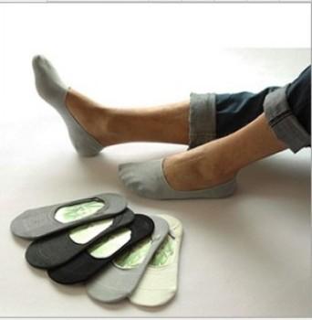 The spring bamboo fiber man invisible socks men pure slip silicone stealth boat socks