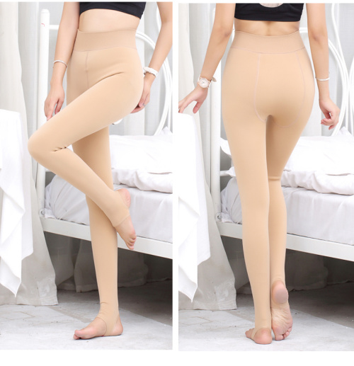 Female nude with velvet leggings and thickened size seamless integrated skin thin waist pants sock warm pants