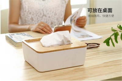 Wooden cover tissue box Japanese contracted creative paper box The sitting room removable tissue boxes