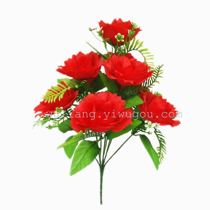 Supply artificial silk flower plant simulation rose wedding 9 fire phoenix mary bouquet product 38cm flower stem width of 9cm mightylinksfo