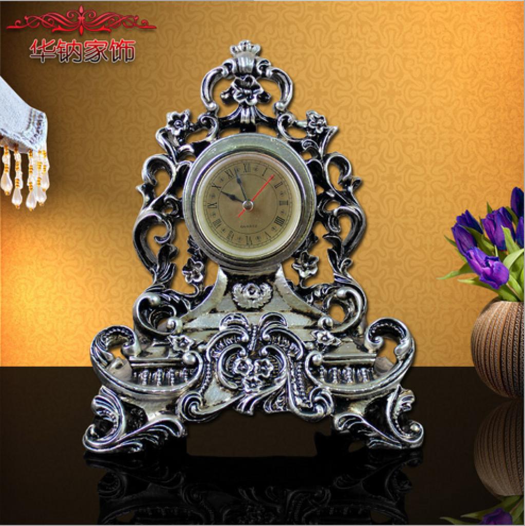 欧式镂空雕花复古时钟 桌面钟表摆件装饰品节日礼物家居饰品