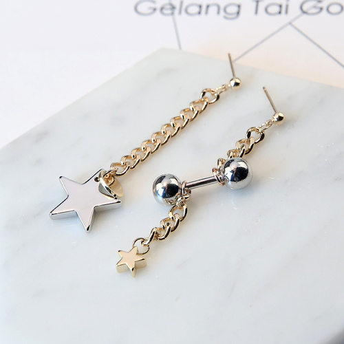 Korean star barbell ball strip combination asymmetric Earrings