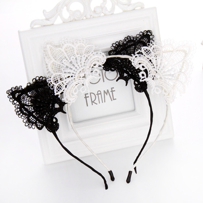 Foreign sexy lace cat ears headband Black Lace headband hair accessories special offer hot I.