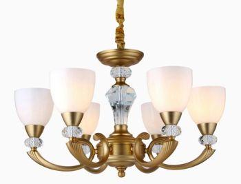 美式欧式镀铜吊灯 客厅餐厅卧室水晶吊灯 磨砂玻璃罩