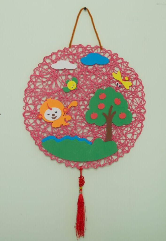 幼儿园吊饰 室内外走廊 diy手工布纸绳编织挂饰