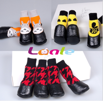 Blue children pet Socks New Winter classic cartoon dog waterproof socks Tactic golden foot slip warm