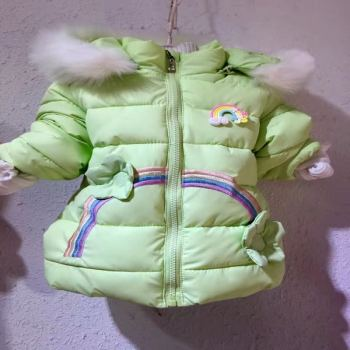 The little girl winter coat hat thickened live